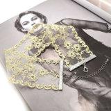 Colares brancas do Choker da flor dos Sequins da rampa do inclinação da cor do ouro do fio do laço Handmade