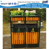 Escaninho Waste público do balde do lixo de madeira ao ar livre para a venda (HD-18105)