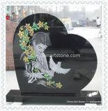 Preto puro monumento do coração para o funeral Gravestone