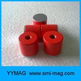 赤いペンキのアルニコD27X25mmの深い鍋の磁石