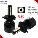 La meilleure lumière automatique H4 H7 H11 H13 de véhicule du phare 12V 24V DEL du phare 80W 8000lm de la qualité G20 DEL
