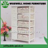 Gabinete de armazenamento de madeira com gaveta de vime (W-CB-426)