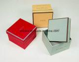 Caja de embalaje del regalo del papel azul de la Navidad Jy-GB09 con la cinta en la cubierta de rectángulo