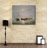 海のボートの油絵