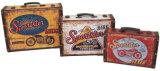 S/3 decoración de diseño de coches de época antigua la impresión de cuero de PU/cuadro de la maleta de almacenamiento de madera MDF