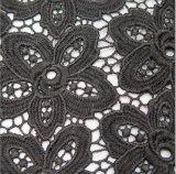 까만 꽃 레이스 직물 수용성 Lacefabric