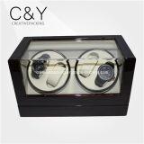 4+0カスタム固体黒い木製の自動腕時計の巻取り機