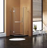 Pièce jointe ouverte de douche de charnière de forme de diamant avec le matériel clair en verre et de chrome