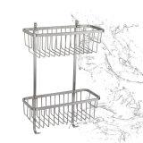 Doppi accessori d'angolo sanitari della stanza da bagno del cestino dell'acquazzone degli articoli SUS304