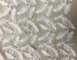 Feather Lantejoulas Bordados Tecido Lace vestido de mulher de alta qualidade
