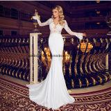 Spitze-lange Hülsen-Brautkleid-Nixe V-Ansatz Hochzeits-Kleider Z2054