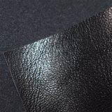 Starkes dunkles Schwarzes PU-Leder, ahmen klumpiges Schuh-Leder nach