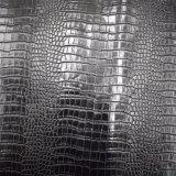 Cuoio sintetico dell'unità di elaborazione di colore del coccodrillo del reticolo nero della pelle