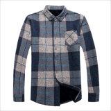 Les hommes de laine Plaided chaud vers le bas Polo Shirt avec poche