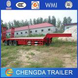 3 reboque do caminhão da base de Lowbed do transporte da máquina escavadora dos eixos 50ton baixo