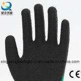 зеленая пена латекса черноты вкладыша полиэфира 13G 3/4 покрынных перчаток работы (L003)