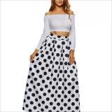 Polka Dots цветочный High-Waist эластичной гофрированной моды A-Line длинные юбки