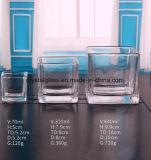 Heißes Verkaufs-Quadrat-transparentes Glaskerze-Cup