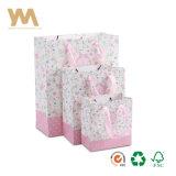 분홍색 주문 아트지 인쇄된 쇼핑 백 운반대 부대 도매