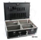 Boîte à outils de trolley en aluminium noir avec des roues