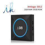 I98 Android 7.1.2 Fernsehapparat-Kasten mit Amlogic S912 Chips 2GB RAM/16GB ROM mit hellem veränderbarem 2.4GHz WiFi Support 4K HD LED-
