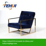 Diseño moderno de acero De oro cátedra de ocio único salón sofá de terciopelo