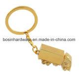 Metal de oro Alquiler de carretilla Llavero forma