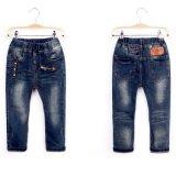 Джинсыы малышей брюк джинсовой ткани популярных детей синие конструированные