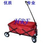 Het vouwen van Wagen met Rode Stof voor het Kamperen of Kinderen
