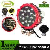 트럭을%s 51W 7inch 빨간 크리 사람 자동 LED 모는 빛