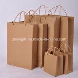 Venta al por mayor barato recicle bolsas de papel duradero de la tarjeta de Kraft con la manija torcida