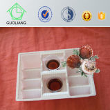 Food Frozen Packaging Supplies Black Round Plastic Oyster Tray con Compartments