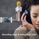 Microfone sem fio de karaoke, colunas Bluetooth com bateria recarregável presentes para as crianças