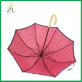 """ピンクの女の子19 """" *8Kの子供のためのプラスチック曲がったハンドルが付いている安い小型子供の傘"""