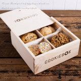 Hongdao caja de madera de encargo dulce para la galleta del bocado Venta al por mayor con la insignia _E