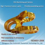 Pièce de usinage de commande numérique par ordinateur de précision en laiton de fini d'or d'usine de la Chine