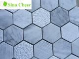 Tuile blanche de marbre d'hexagone de Carrare de mosaïque d'étage