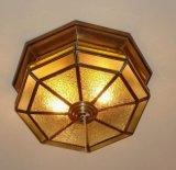 실내 밖으로 문 18937를 위한 유리제 장식적인 천장 점화를 가진 청동색 천장 램프