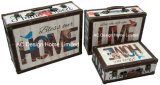 S/3 훈장 앙티크 포도 수확은 PU Leather/MDF 나무로 되는 저장 여행 가방 상자를 인쇄하는 우리의 가정 디자인을 강복한다