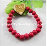 La primavera de la moda Abalorios de madera roja Pulsera de madera, madera pulsera y Brazalete Pulsera Abalorios de madera roja, abalorios de madera joyas (elástico)