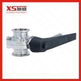 3Uma braçadeira tricolor sanitários em aço inoxidável SS034 Válvula Borboleta com alça de fibra