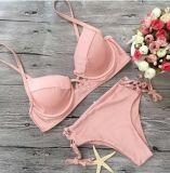 Бюстгальтер сексуальных планок шнура розовый острый нажимает вверх плавая Swimwear Бикини износа