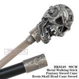 Cana-de-cabeça de cranio de resina Metal espada curta Stick 90cm HK8349