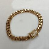 Diamant-Hakenmens-GoldStainles kubanisches Link-Stahlarmband Mjcb026