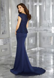 Short Sleeve Mother Dress Mermaid Ladies Navy Blue Evening Gown