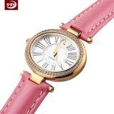 Horloge van het Roestvrij staal van het Water van het Leer van de manier het Roze Bestand