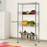 Cable de Metal Cocina Mini-Basket ajustables estanterías de almacenamiento Rack con el pie de Nivel 4