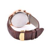 Reloj de manera genuino del cuarzo del Wristband de la correa de cuero de la caja de acero inoxidable para los hombres