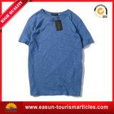 Camiseta de calidad superior de encargo del llano del algodón con el cuello redondo