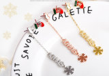 Mode bijoux Enanel flocon de neige noël 925 Silver Earring bijoux en or